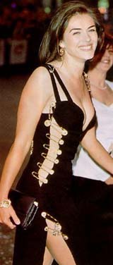 Liz Hurley  wearing Versace safety pin dress (99 kbytes) - Click to enlarge