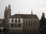 Zurich, Grossmunster Across the River (37 kbytes) - Click to enlarge
